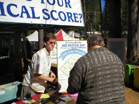 Lance prepares to score a World's Smallest Political Quiz at the Nevada County Fair